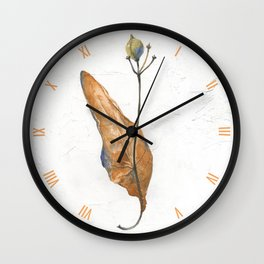 Linden seeds in winter (watercolor on textured background) Wall Clock