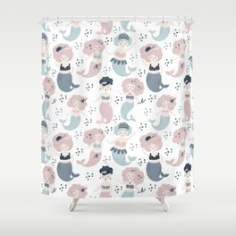 Mermaid's party patterns Shower Curtain