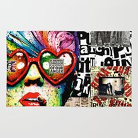 punk rock Area & Throw Rugs featuring Punk Rock poster by Mira C