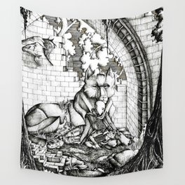 Lovers in the ruins Wall Tapestry