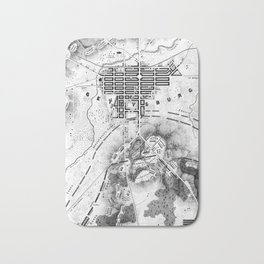 Vintage Map of The Gettysburg Battlefield (1863)BW Bath Mat