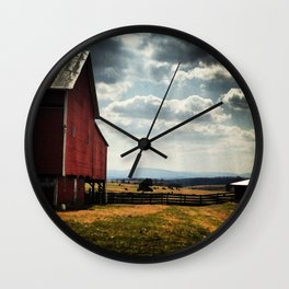 Red barn with mountain view Wall Clock