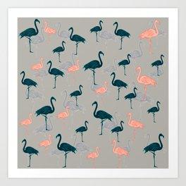 Tropical Gathering Flamingo Design Art Print
