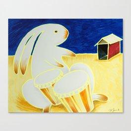 Bongo Bunny by the Old Tin Shack Canvas Print