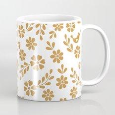Golden floral symmetric birds heart Mug