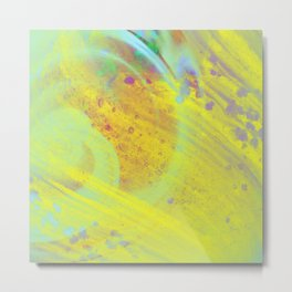 Soothing - Abstract yellow painting Metal Print