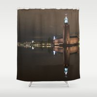 stockholm Shower Curtains featuring Stockholm by BearClause