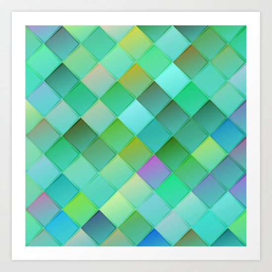 Green pattern with squares.Trendy print. Modern graphic design. Art Print