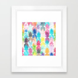 Hawaiian Pineapple Pattern Tropical Watercolor Framed Art Print