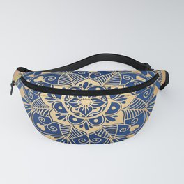 Blue and Gold Flower Mandala Fanny Pack