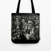 heroes Tote Bags featuring Heroes by Joshua Anthony