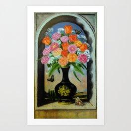 Flowers on the window Art Print