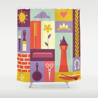 rapunzel Shower Curtains featuring Rapunzel by Ariel Wilson