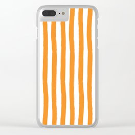 Orange and White Cabana Stripes Palm Beach Preppy Clear iPhone Case