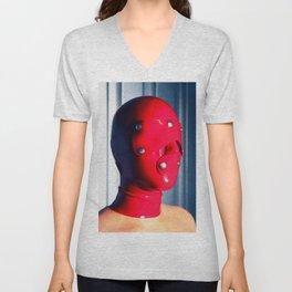 Red Hood - Woman wearing fetish facemask #2876 Unisex V-Neck