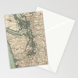 Vintage Map of The Puget Sound (1910) Stationery Cards