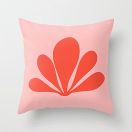 Tropical Plant Minimalism - Pink & Red Throw Pillow