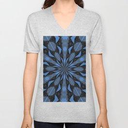 Blue Steel and Black Fragmented Kaleidoscope Unisex V-Neck