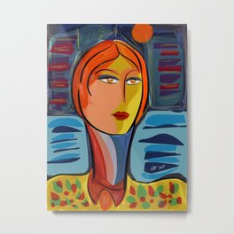 Woman at the window on the French Riviera Metal Print
