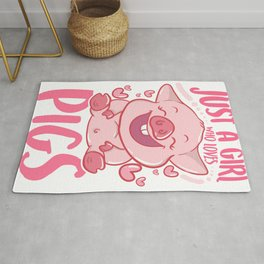 Adorable Just a Girl Who Loves Pigs Cute Piglet Rug