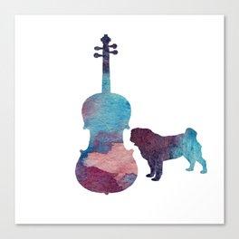 Viola pug art Canvas Print