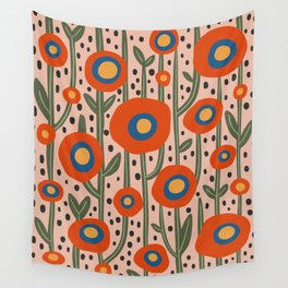 Flower Market Amsterdam, Abstract Modern Floral Print Wall Tapestry