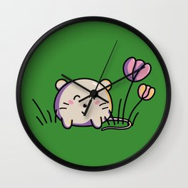 Cute Kawaii Spring Mouse and Flowers Wall Clock