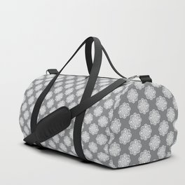 Floral Doily Pattern | Grey and White Duffle Bag