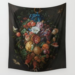 Festoon of fruits and flowers - Jan Davidsz. de Heem (1660 - 1670) Wall Tapestry