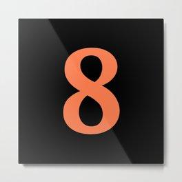 8 (CORAL & BLACK NUMBERS) Metal Print