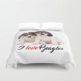 I Love Beagles Beagle Puppies Photo Duvet Cover