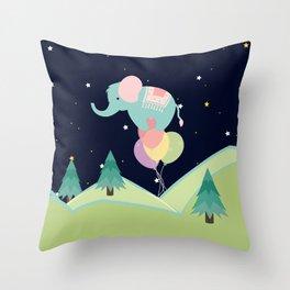 Elephant with Balloons, nursery decor , Throw Pillow
