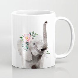Baby Elephant with Flower Crown Coffee Mug