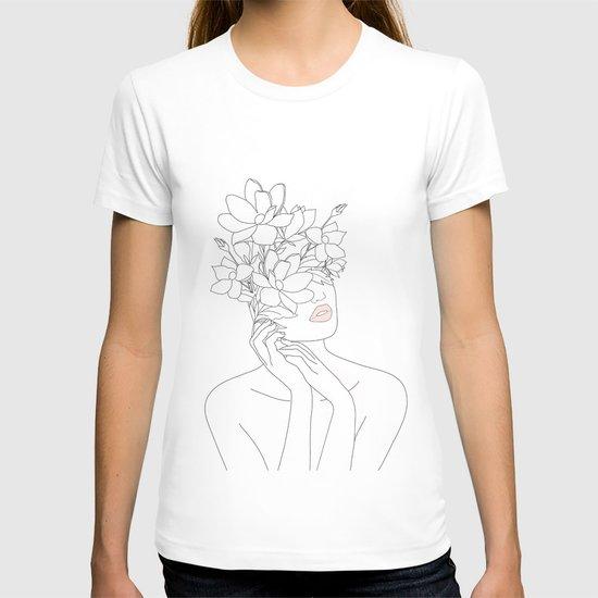 Minimal Line Art Woman with Magnolia by nadja1