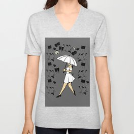 Music Art Drums And Woman With Umbrella In The Rain Cartoon Style Unisex V-Neck