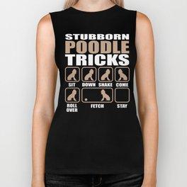 Stubborn Poodle Tricks design Biker Tank