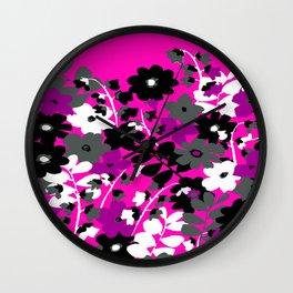 SUNFLOWER TOILE PINK BLACK GRAY WHITE PATTERN Wall Clock