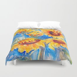 Sunflowers x 5 watercolor by CheyAnne Sexton Duvet Cover