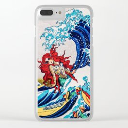 Mermaids love surfing Clear iPhone Case