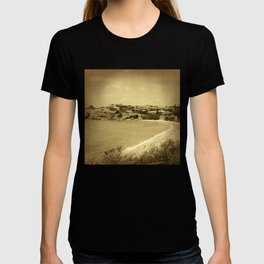 Bay and beach side suburb in sepia T-shirt