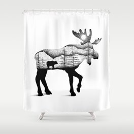 THE MOOSE AND THE BEAR Shower Curtain