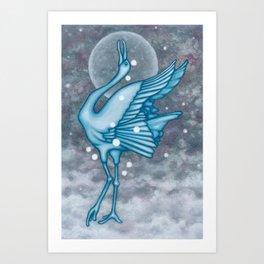 Comic Bird and Moon Constellaton Art Print