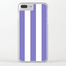 Toolbox violet - solid color - white vertical lines pattern Clear iPhone Case