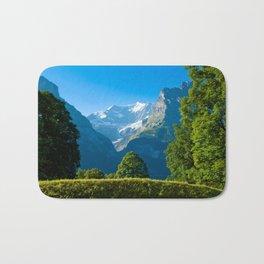 Mountain landscape in Swiss Alps Bath Mat
