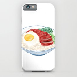 Watercolor Illustration of Chinese Cuisine - Barbecued pork and fried egg on cooked rice | 黯然销魂饭 iPhone Case