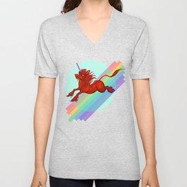 Cadmium Red Unicorn in Moonlight Unisex V-Neck