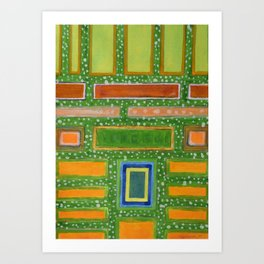 Filled Rectangles on Green Dotted Wall Art Print