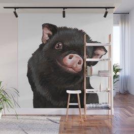 Cute Baby Black Pig Wall Mural