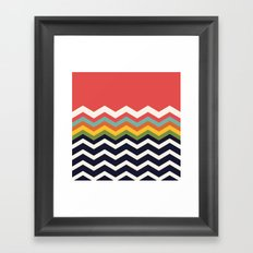 Retro Chevrons (navy and salmon) Framed Art Print
