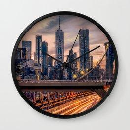 Traffic over the Brooklyn Bridge, New York City Wall Clock